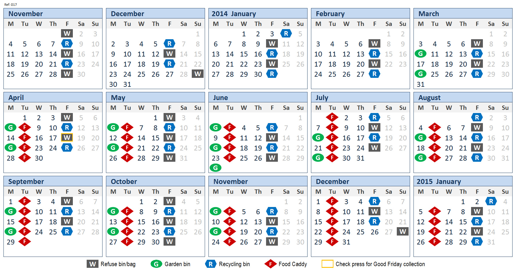 Refuse Collection Calendars